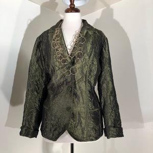 Chico green blazer jacket; Size 3